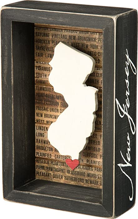 "Primitives by Kathy Wanderlust Box Sign, 4.5"" x 7"", New Jersey"