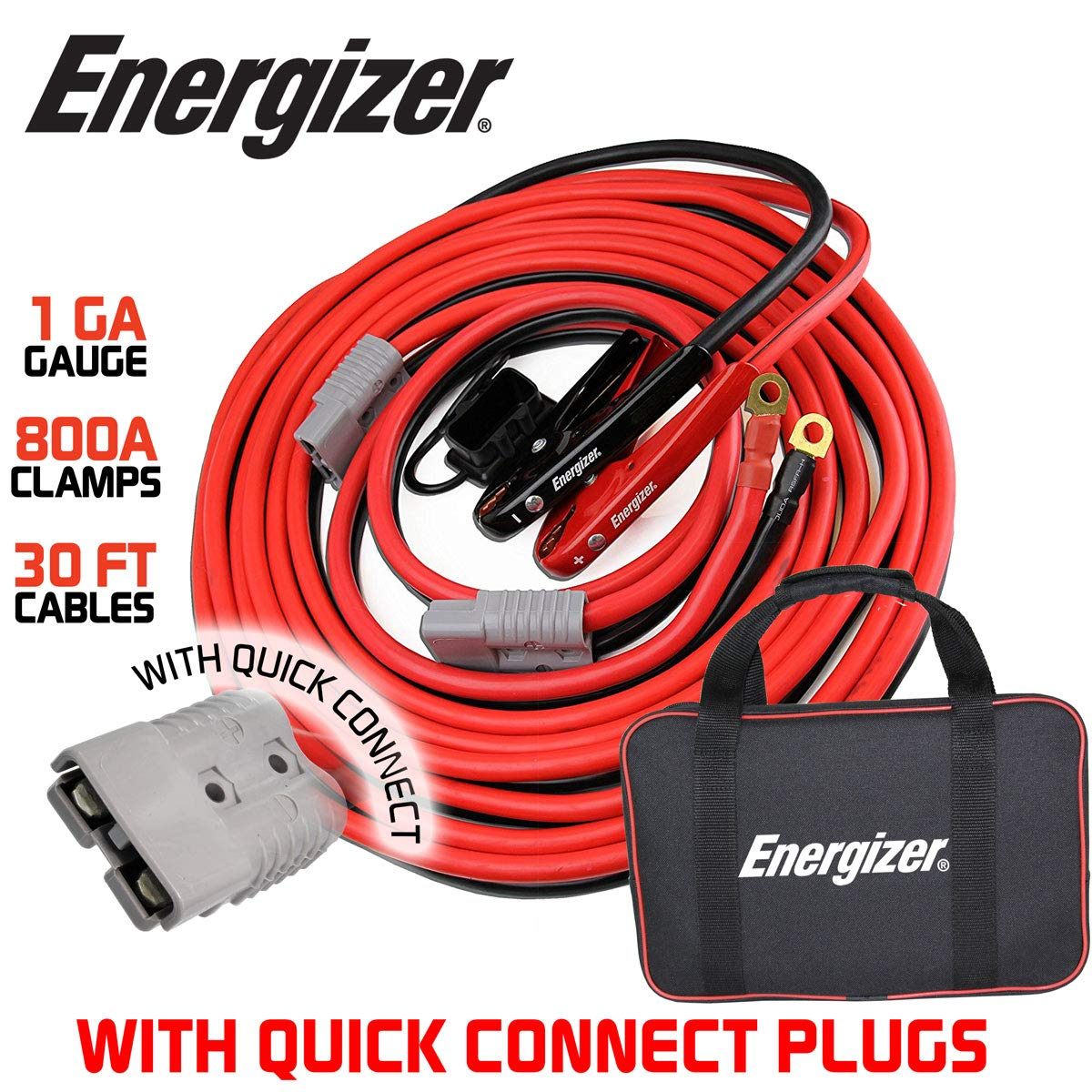 Energizer 1 Gauge 800A Permanent Installation kit Jumper Battery Cables with Quick Connect Plug 30 Ft Booster Jump Start - 30 Ft Allows You to Boost a Battery from Behind a Vehicle by Energizer