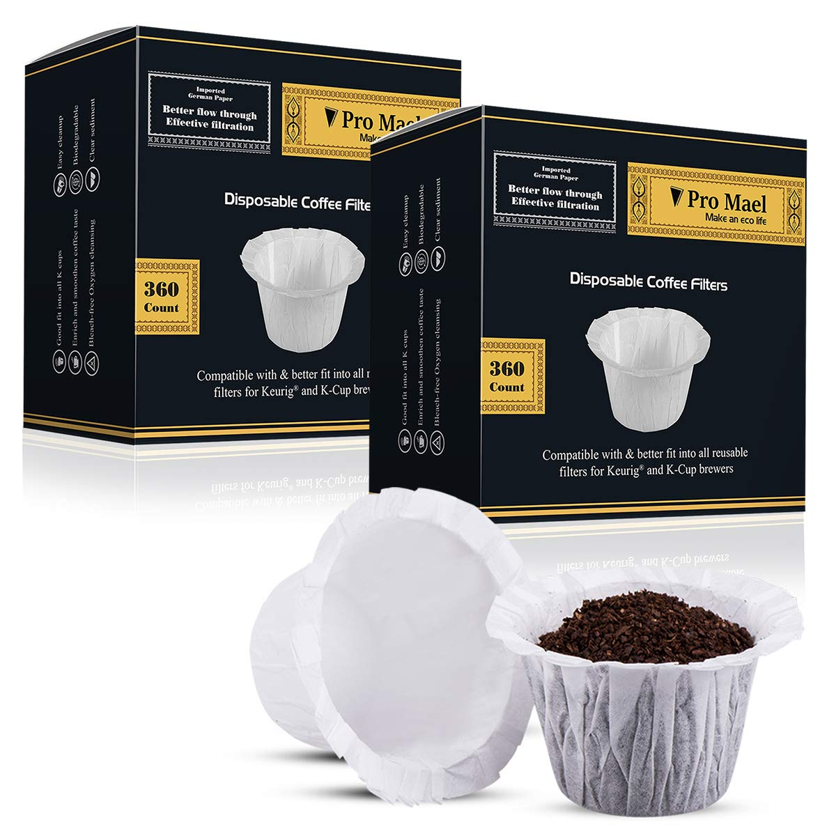 Disposable Coffee Filters 2 Pack 720 Counts Coffee Filter Paper for Keurig Brewers Single Serve 1.0 and 2.0 Use with All Brands Reusable K Cup Filter