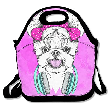54d0e5dbe7ff Amazon.com: Large Polyester Bag Girl Puppy With Bows Stylish Purse ...