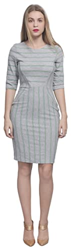 Marycrafts Womens Casual Simple Work Day Pencil Striped Dress