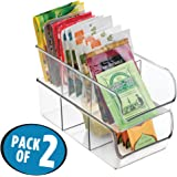"mDesign Refrigerator, Freezer, Pantry Cabinet Organizer Bins for Kitchen - 11"" x 5.5"" x 3.5"", Pack of 2, Divided, Clear"