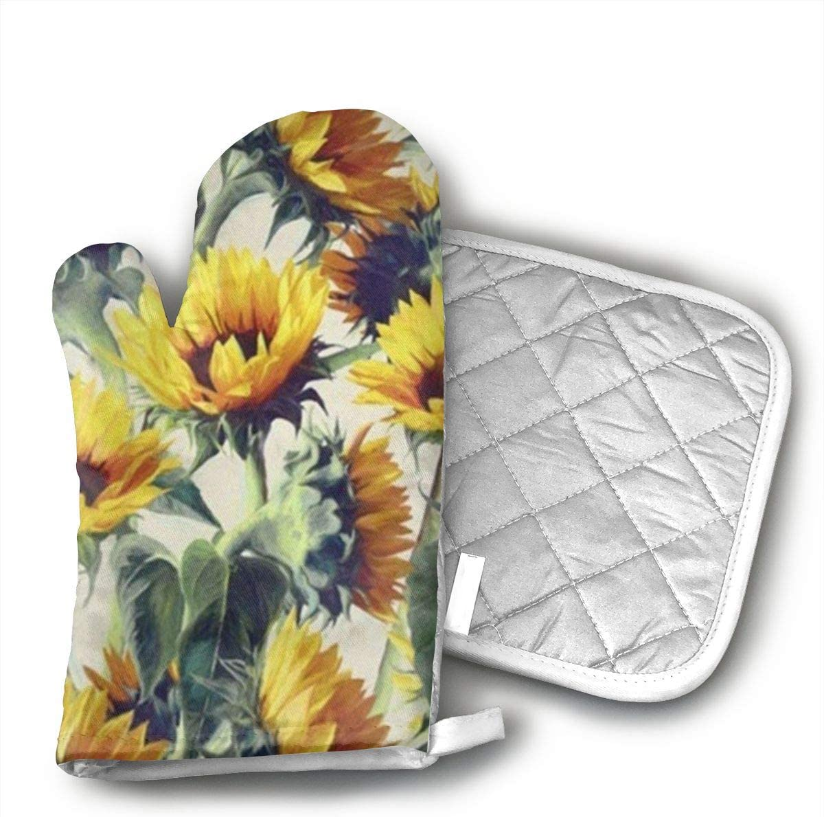 Wiqo9 Yellow Sunflower Oven Mitts and Pot Holders Kitchen Mitten Cooking Gloves,Cooking, Baking, BBQ.