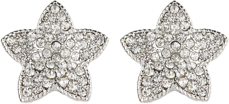 Clip en los pendientes - Estrella de plata con cristales claros plateado - Coral por Bello London