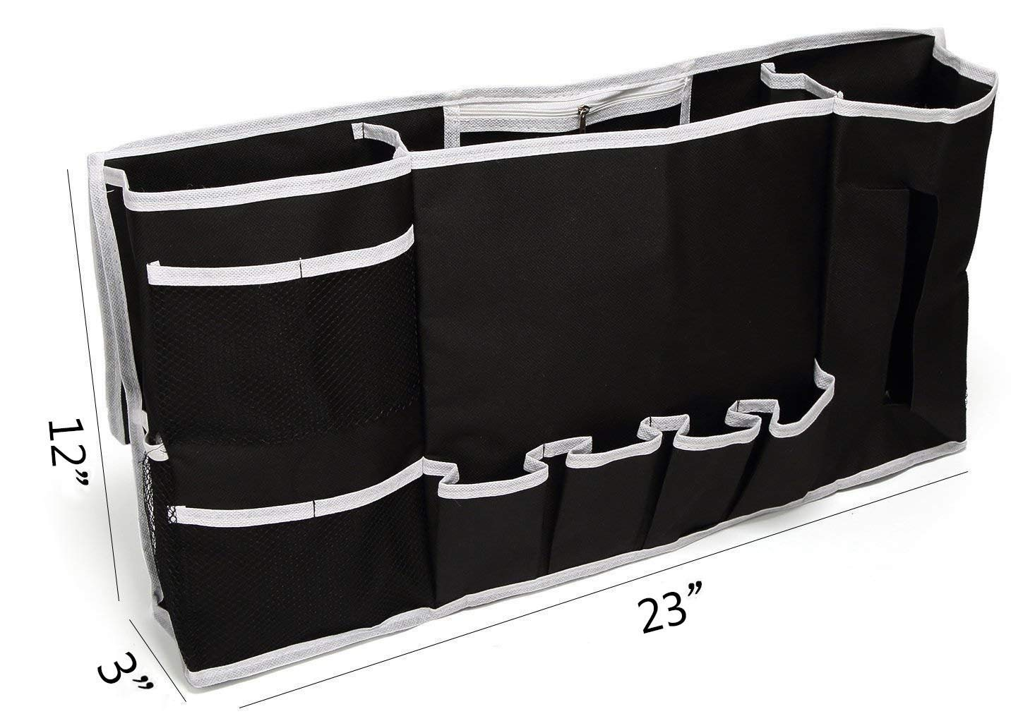 Glin Bedside Caddy, 12 Various Pockets Perfect College Dorm Room Bunk Bed Bedside Organizer,Durable Stable Material Bed Caddy,Large Size Holds Your Laptop,Books,Tablet,Phone More (black1)