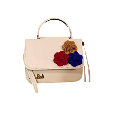 f330bb6fed6 ZARA White Sling Bag for Girls stylish and trendy Sling Bag for women with  flower embeded design: Amazon.in: Shoes & Handbags