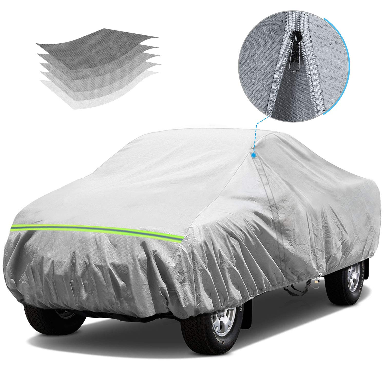 KAKIT Waterproof Truck Cover, 5 Layers All Weather UV Protection Car Cover with Driver Door Zipper for Truck Pickup, Fits up to 242''