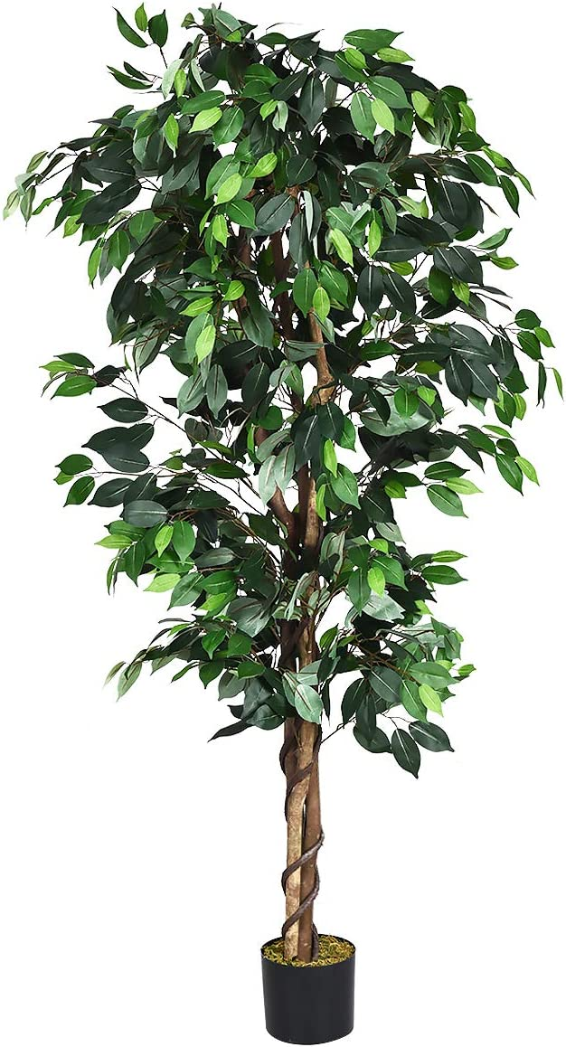 Amazon Com Goplus 6ft Artificial Ficus Silk Tree Fake Plant In Pot For Home And Office Decor Home Kitchen