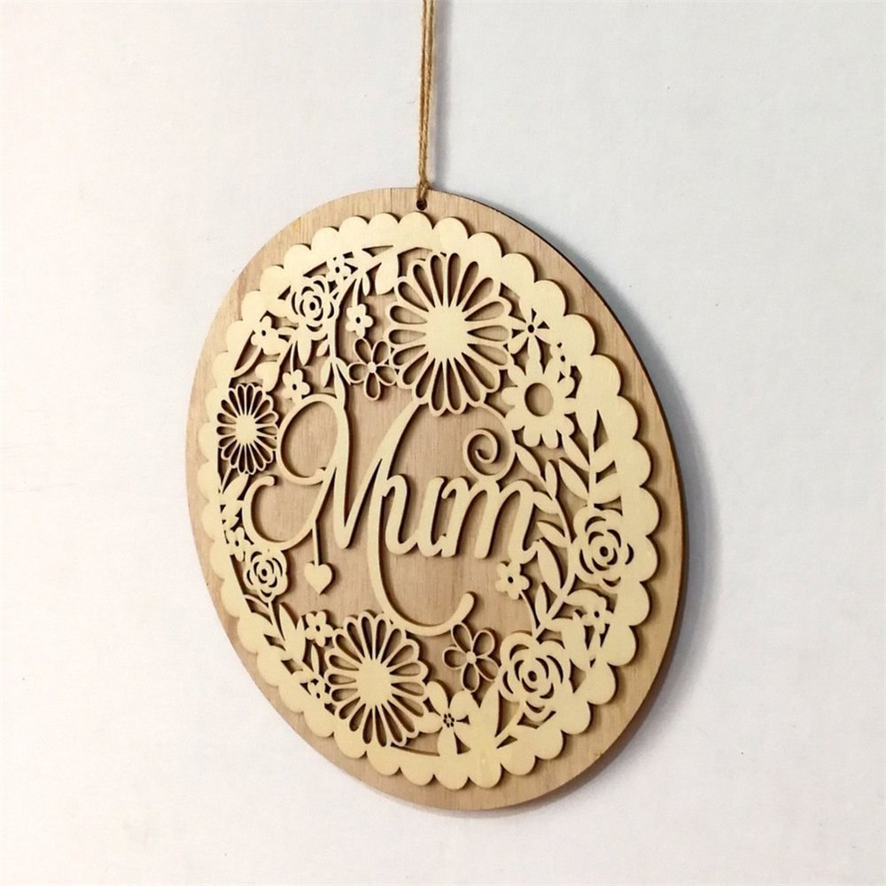 Wooden Hollow Out Mum Hanging Board Round Circle Mother's Day Gift Plank Hanging Plaque Wall Wood Sign Craft Decor Pendant by sd finger (Image #4)