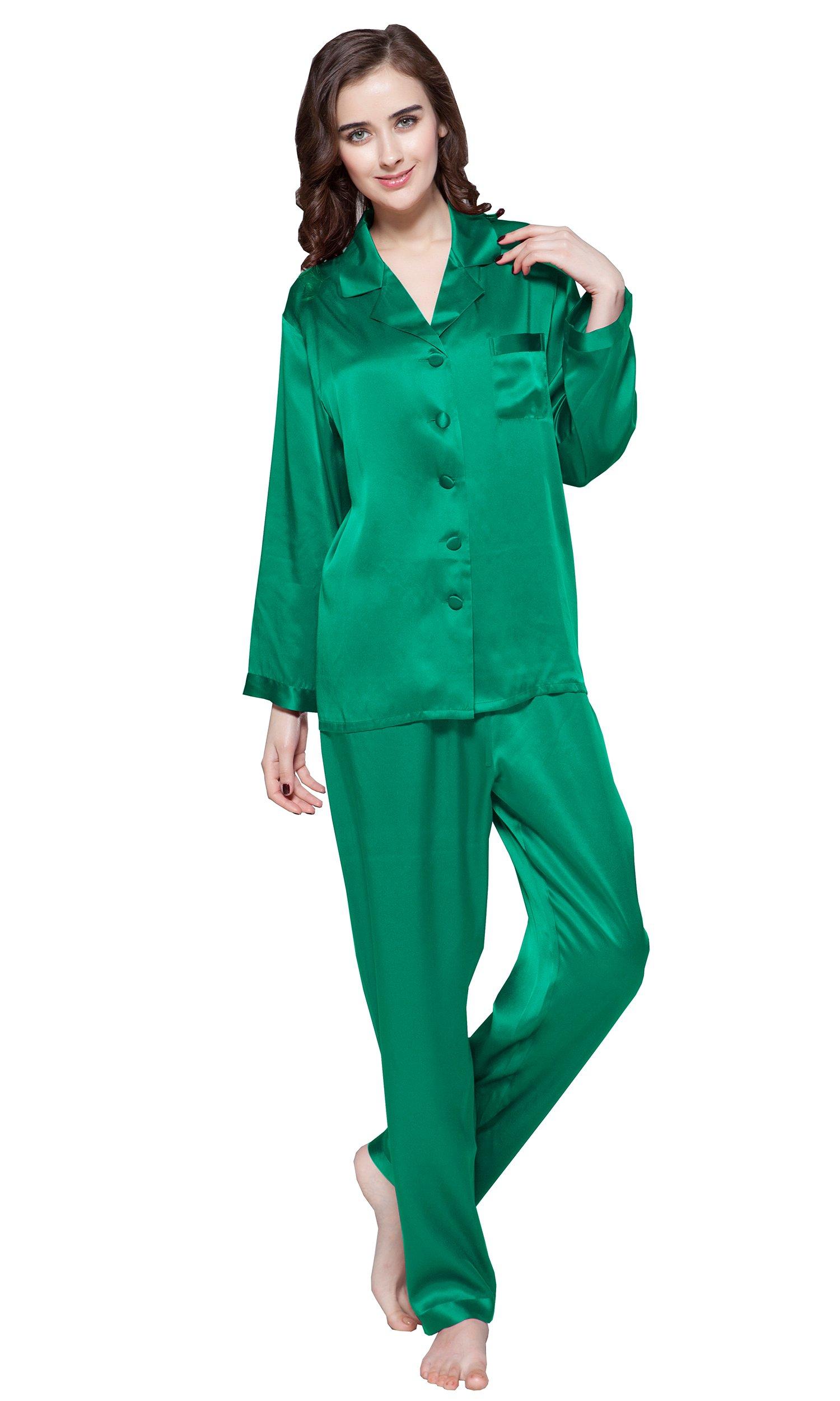 LILYSILK Women's Pure Silk Pajamas Full Length Long 22 Momme 100% Mulberry Silk Christmas Gift (8-10/Medium, Green Jade)