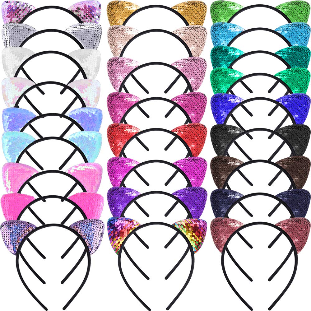 SIQUK 26 Pieces Cat Ears Headband Sequin Ears Headbands Reversible Shiny Hairband for Women and Girls, 26 Colors by SIQUK