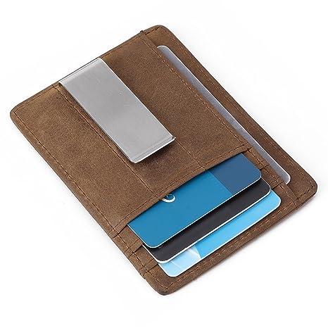 Teemzone Tarjeta de Crédito y monedero de piel con RFID Bloqueo - Mini Billetera para Tarjetas de Crédito Hombre