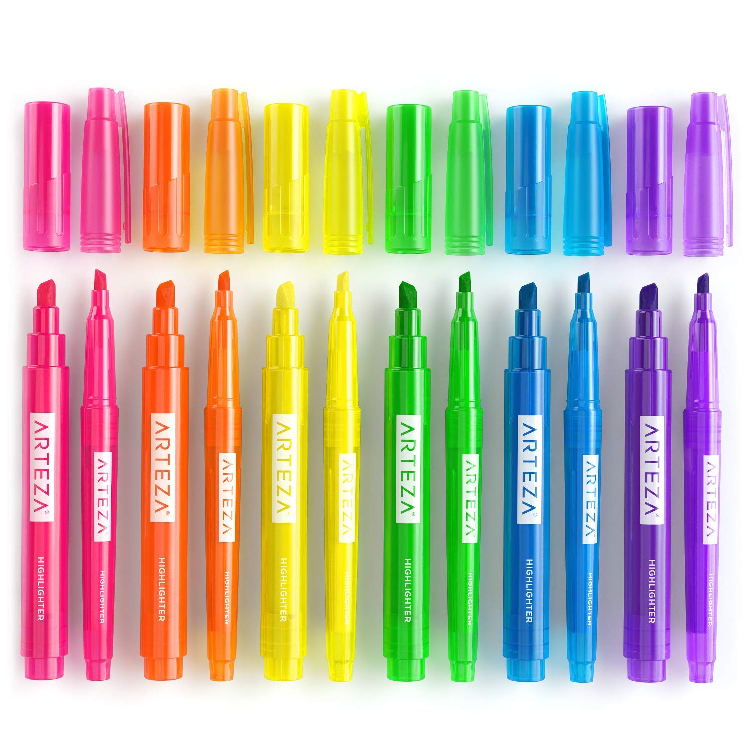 Arteza Highlighters Set of 60, Bulk Pack of Colored Markers, Wide and Narrow Chisel Tips, 6 Assorted Neon Colors, for Adults & Kids by ARTEZA (Image #3)