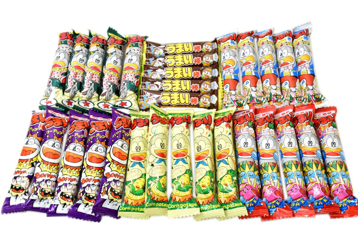 Umaibo, Japanese popular snack food, Chocolate taste and others,total 30 pcs. No.a220