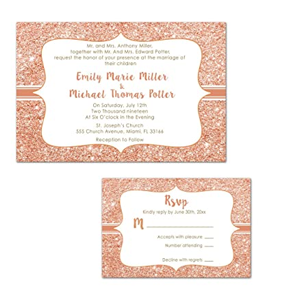 Amazon.com: 100 Wedding Invitations Rose Gold Glitter Design + ...