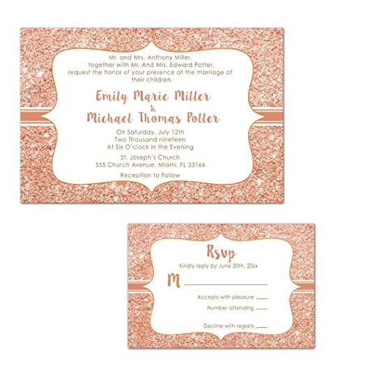100 invitaciones de boda oro rosa brillante + respuesta tarjetas + ...