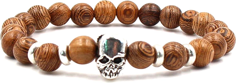 Halin Dre Women Men Hip Hop Alloy Skull 8MM Natural Stone Bead Stretch Bracelet