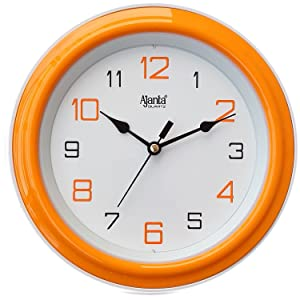 Ajanta Plastic Round Motion Clock (20.5 cm x 20.5 cm x 3.5 cm, Orange)