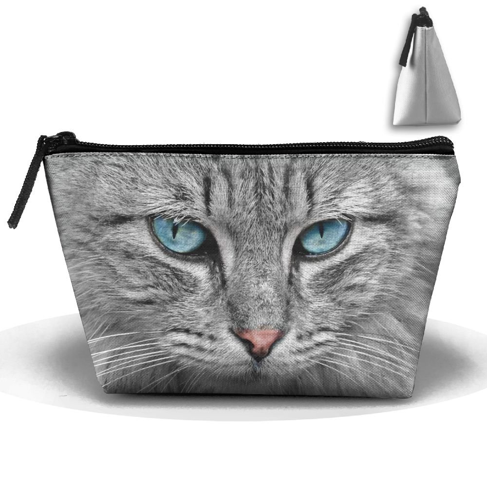 UEYYP White Blue Eyed American Short Cat Women's Cute Zippered Makeup Bag Large Trapezoidal Cosmetic Travel Bag Portable Pouch Multifunction Toiletries Organizer Bag
