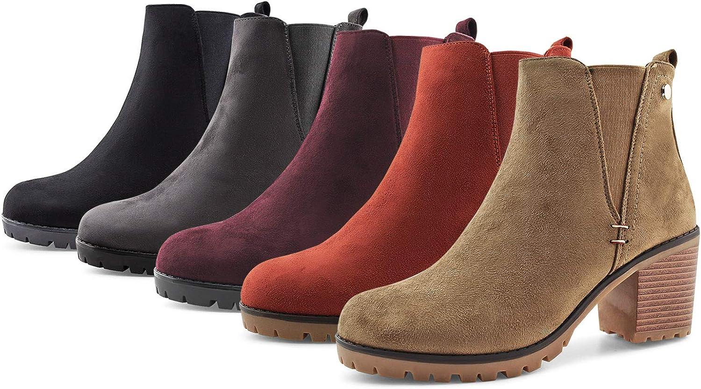JABASIC Women Casual Suede Ankle Booties Block Heel Slip On Chelsea Boots