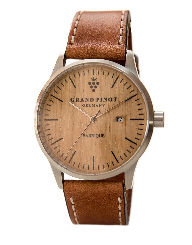 Grand Pinot Herren-Armbanduhr CHARACTER (42 mm) Silber-Barriquefass mit Lederarmband