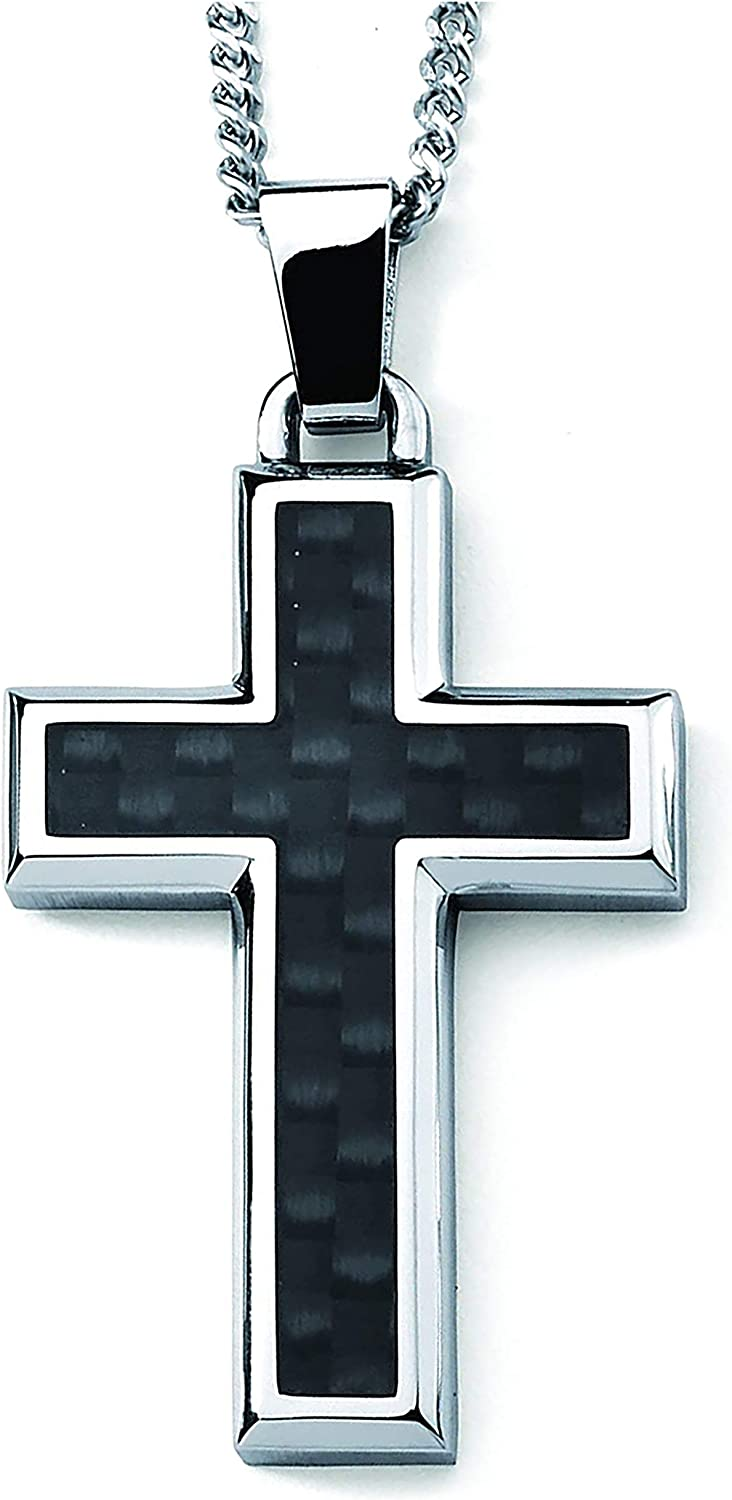 """Boston Bay Diamonds Stainless Steel Black Carbon Fiber Accent 1-3/4"""" Men's Cross Pendant Necklace with 24"""" Curb Chain"""