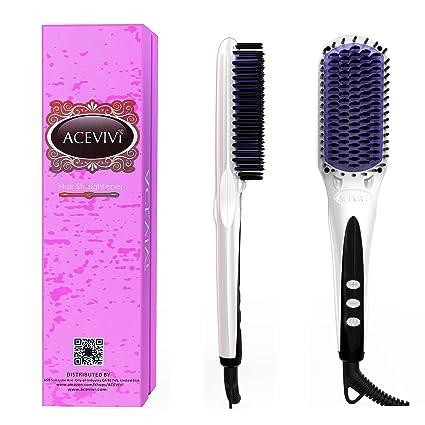 ACEVIVI Cepillo alisador de pelo cabello cepillo Peine para desenredar el cabello de cerámica calefacción eléctrica