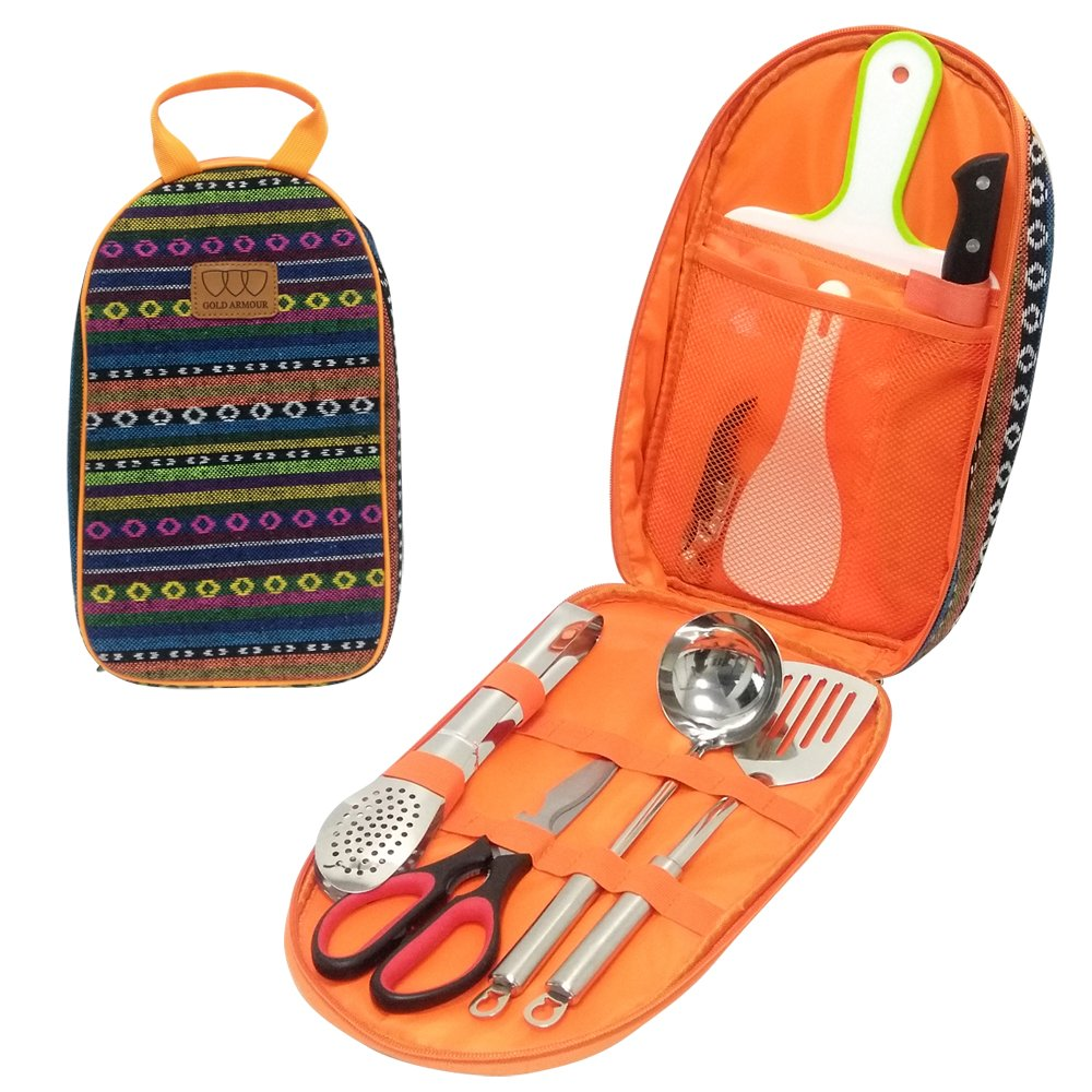 8Pcs Camping Cookware Kitchen Utensil Organizer Travel Set - Portable BBQ Camp Cookware Utensils Travel Kit with Water Resistant Case, Cutting Board, Rice Paddle, Tongs, Scissors, Knife (Orange)