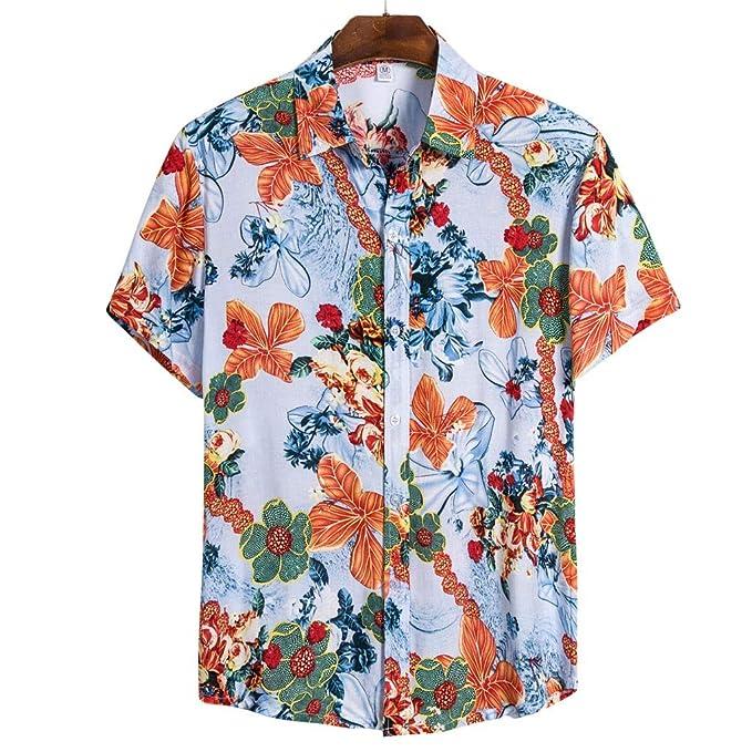 t-Shirt Slim Casual Moda Stampa Floreale Camicia da Uomo Camicia a Maniche Corte da Uomo Camicia a Maniche Corte Nuova Estate in Stile Spiaggia