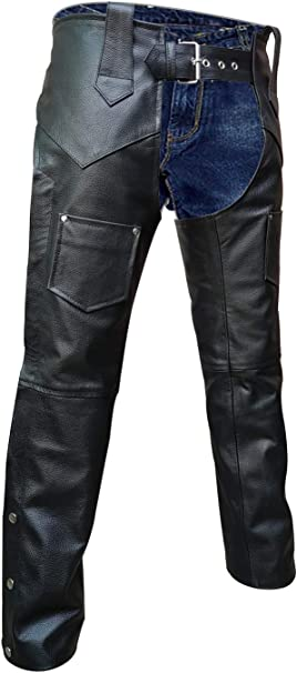 Unisex Genuine Leather Black Motorcycle Chap Biker All Sizes Customized Length