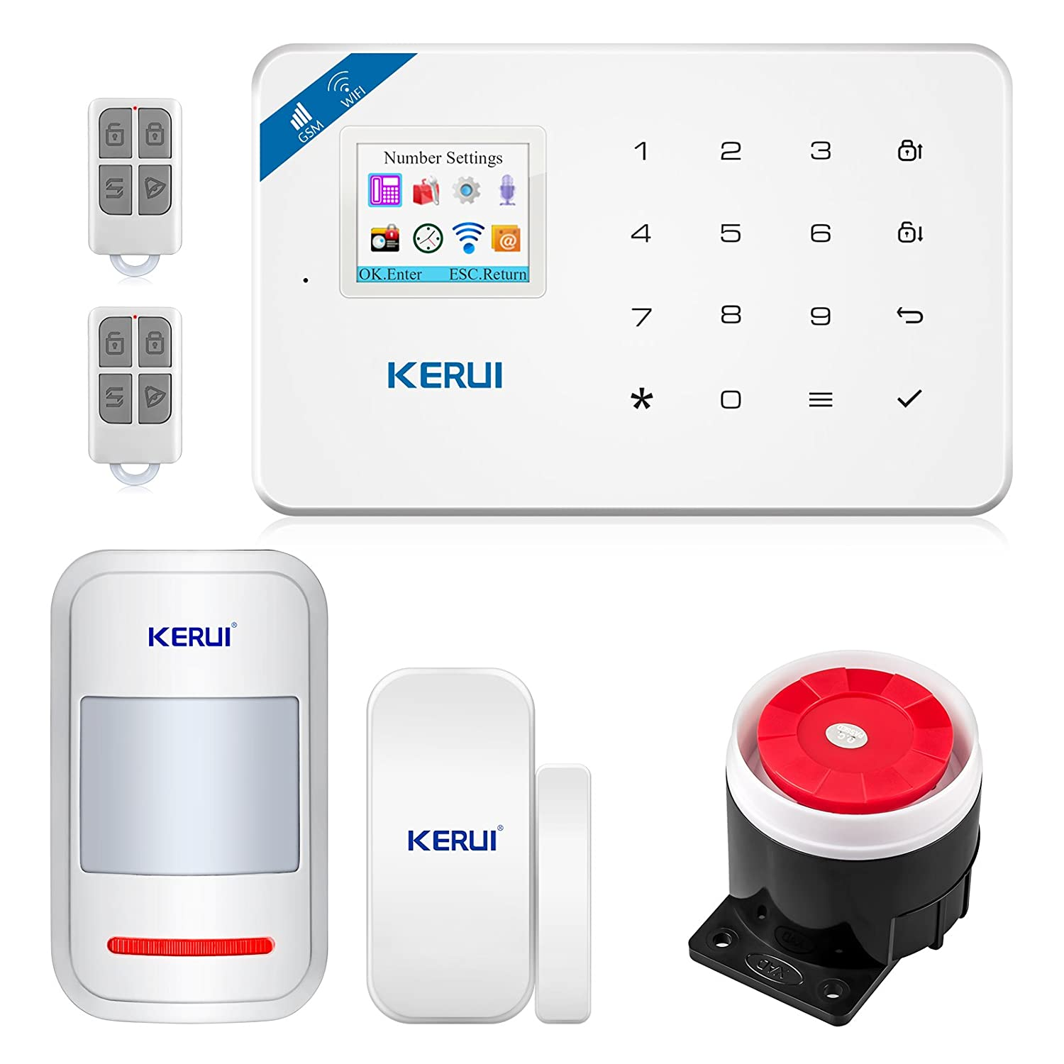 KERUI WIFI + GSM 2-In-1 Wireless Home Security Alarm System DIY Kit with  Auto Dial Support Android IOS Smart Phone APP Control