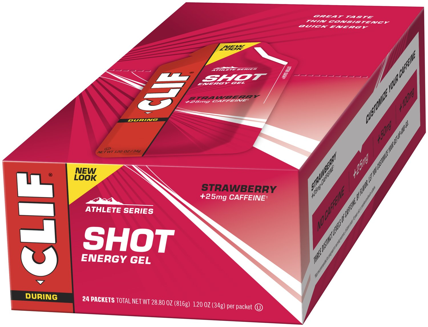 CLIF SHOT - Energy Gel - Strawberry - With Caffeine (1.2 Ounce Packet, 24 Count)