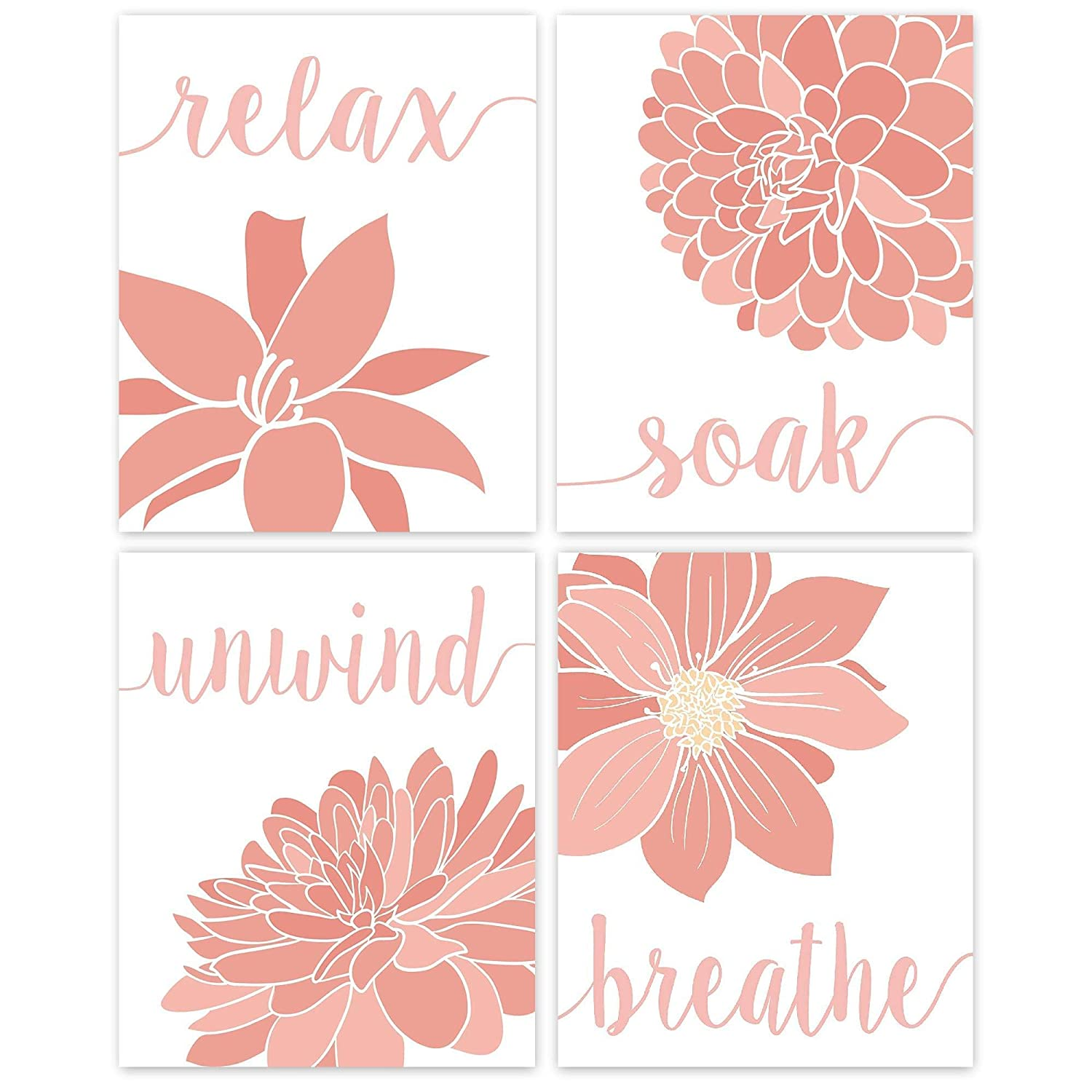 Relax, Soak, Unwind, Breathe Pink & White Bath Flower Poster Prints, Set of 4 (8x10) Unframed Photos, Wall Art Decor Gifts Under 20 for College, Home, Studio, Student, Teacher, Floral Fan