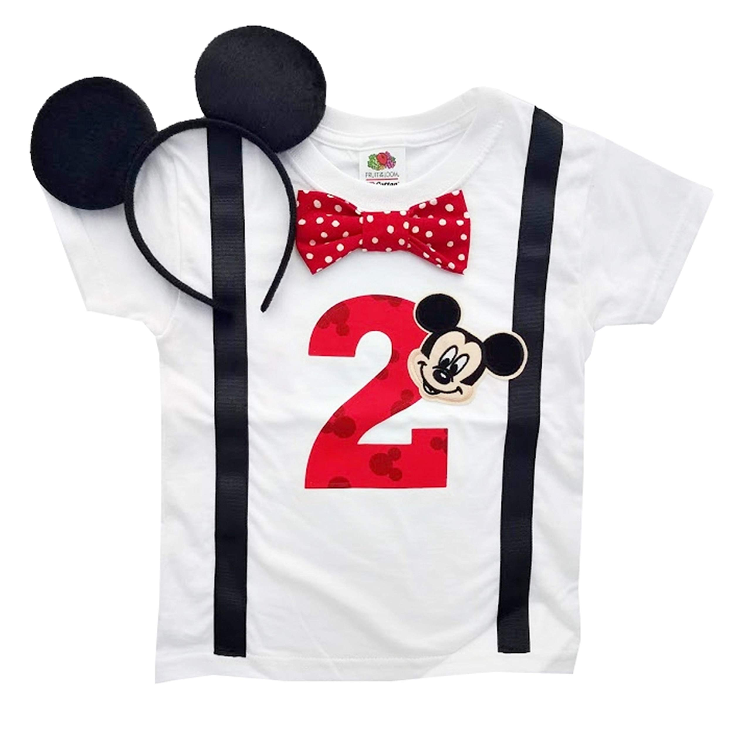 2nd Birthday Shirt Boys Mickey Mouse Tee (2T, White-Black-Red Dot with Headband) by Perfect Pairz