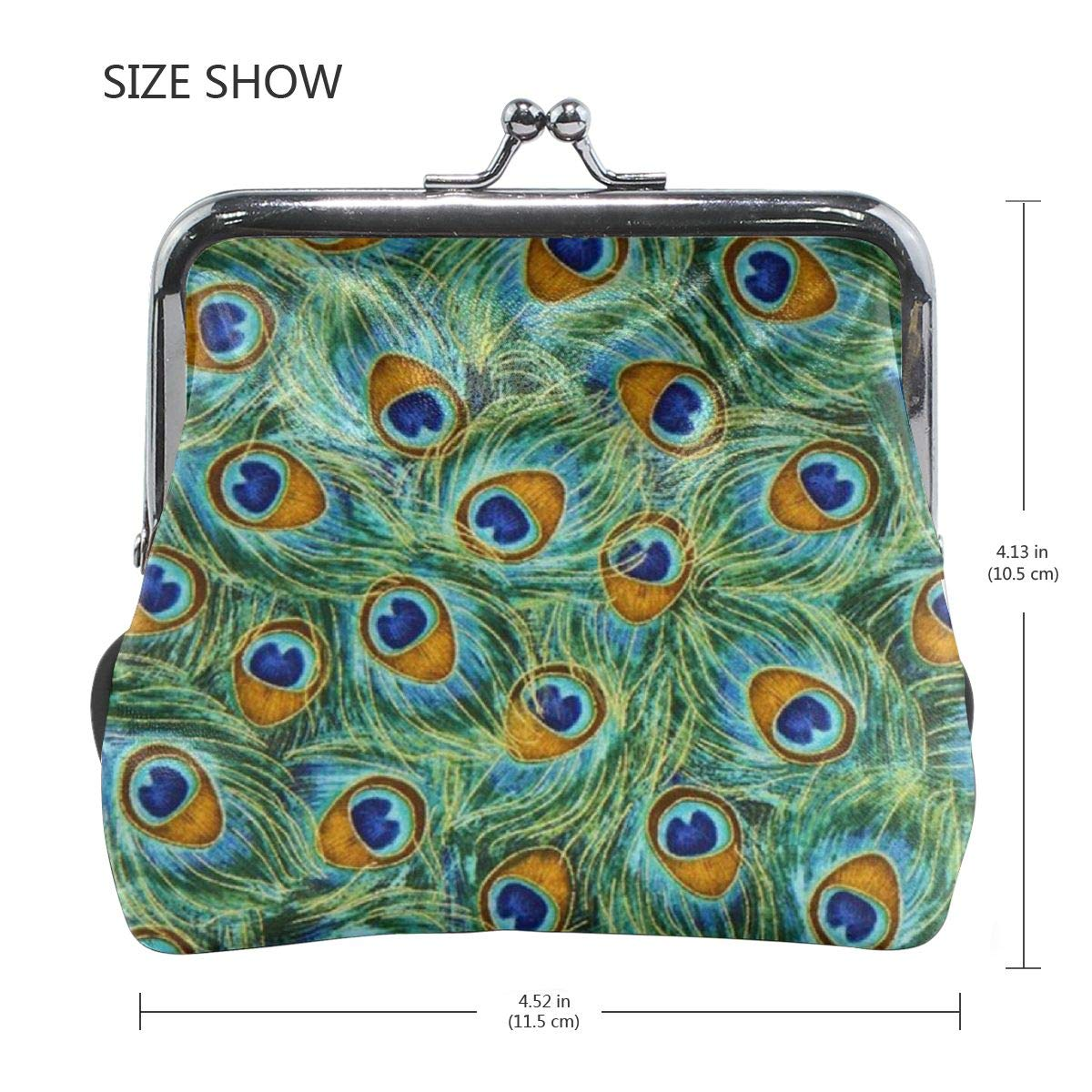TYDhey Peacock Feathers Classic Buckle Coin Purses Leather Kiss-Lock Change Wallets