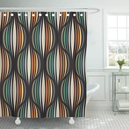 Emvency Shower Curtains 84 X 72 Inches Green Geometric Retro Repetitive Vintage Pattern Orange Circle Seventies