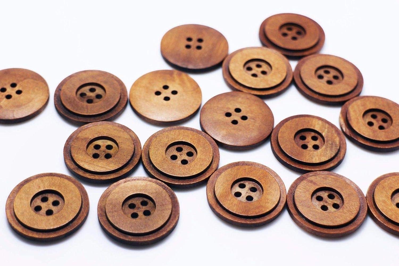 15 x Assorted Blue Line Stripe Wooden Craft Buttons 18mm 25mm