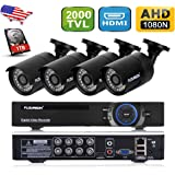 Floureon AF-C005 1X 8CH 1080N AHD DVR + 4X Outdoor Waterproof 2000TVL 960P 1.3MP Camera + 1TB HDD Security Kit Support Motion Detection Remote Access