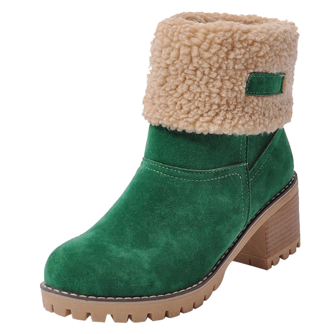 Green MORNISN Womens Winter Snow Boots Round Toe Suede Chunky mid Heel Faux Fur Warm Ankle Booties
