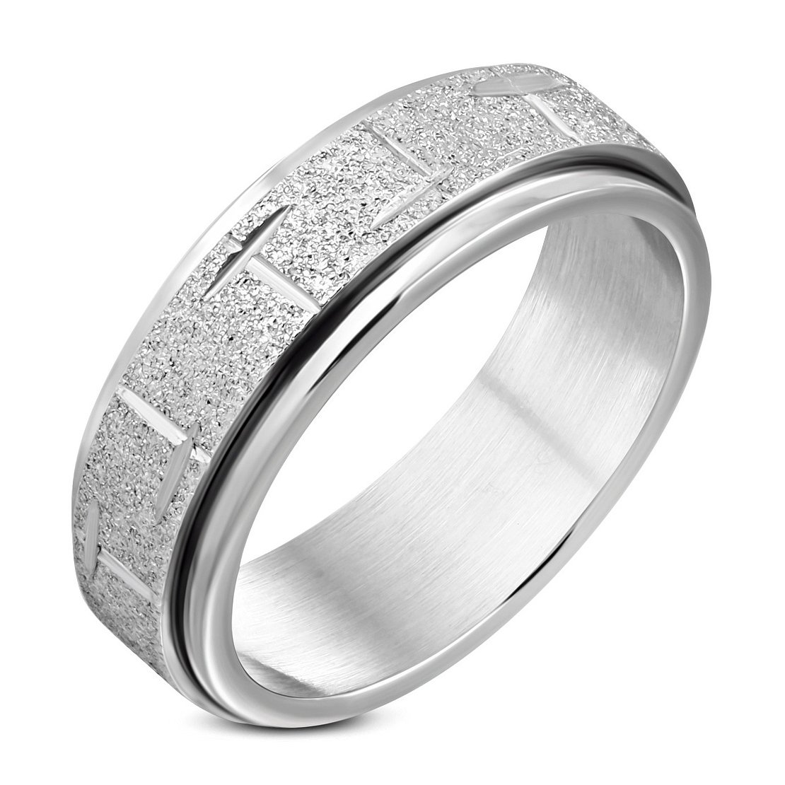 Stainless Steel Sandblasted Diamond-Cut Cross Spinning Flat Band Ring