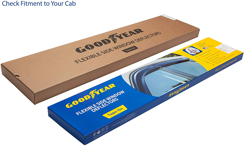 Goodyear Shatterproof Side Window Deflectors for Trucks Ford F-150 2015-2020 SuperCrew 4 pcs Tape-on Rain Guards GY003112 Vent Window Visors