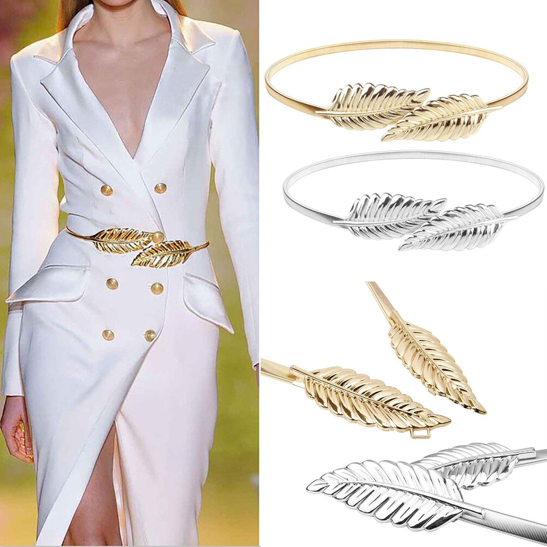Elinadress Women's 2 pieces Metal Leaf Stretchy Elastic Belts Dress Belt Sliver&Gold