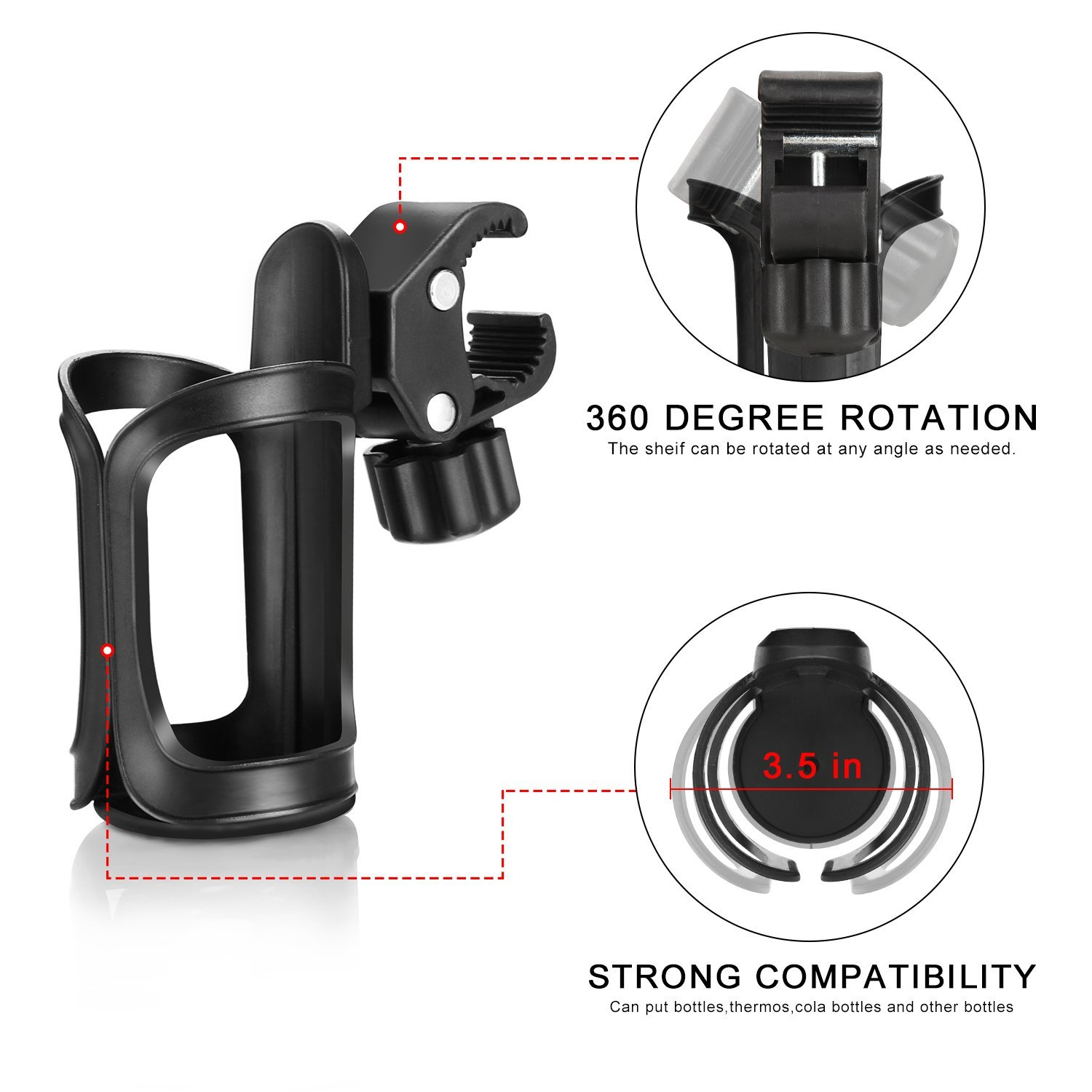 Accmor Bike Cup Holder/Stroller Bottle Holders, Universal 360 Degrees Rotation Antislip Cup Drink Holder for Baby Stroller/Pushchair, Bicycle, Wheelchair, Motorcycle, Tools Free, 2pack by accmor (Image #2)