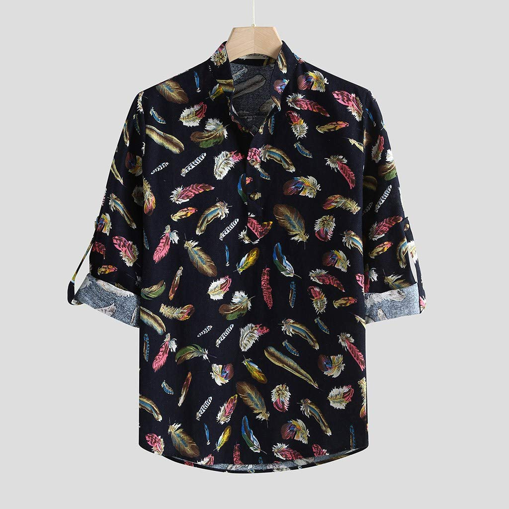 Uqiangy Men Casual Colorful Feather Printing Vintage Slim Long Sleeve Dress Shirt Blouse Tops