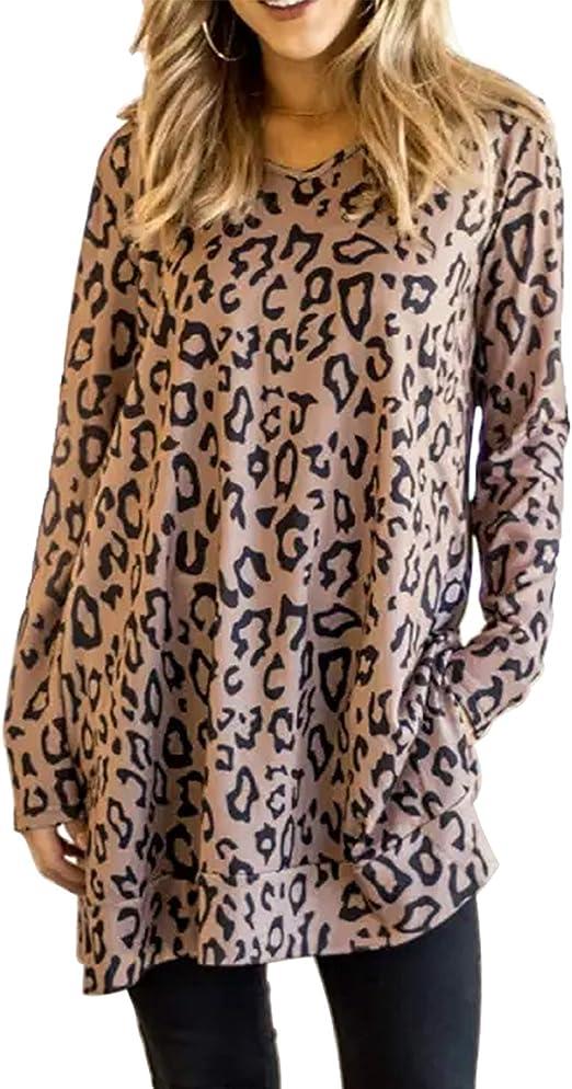 UK 8-26 Womens Leopard Print Batwing Sleeve Asymmetric Tunic Tops T Shirt Blouse