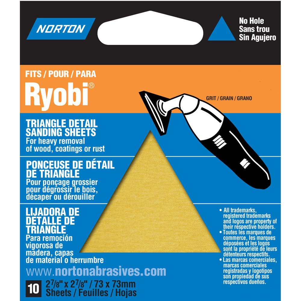 Norton 07660749282 Adhesive Backed Triangle Sanding Sheet for Ryobi Sander, P150 Grit, Fine Grade (Pack of 10) by Norton Abrasives - St. Gobain