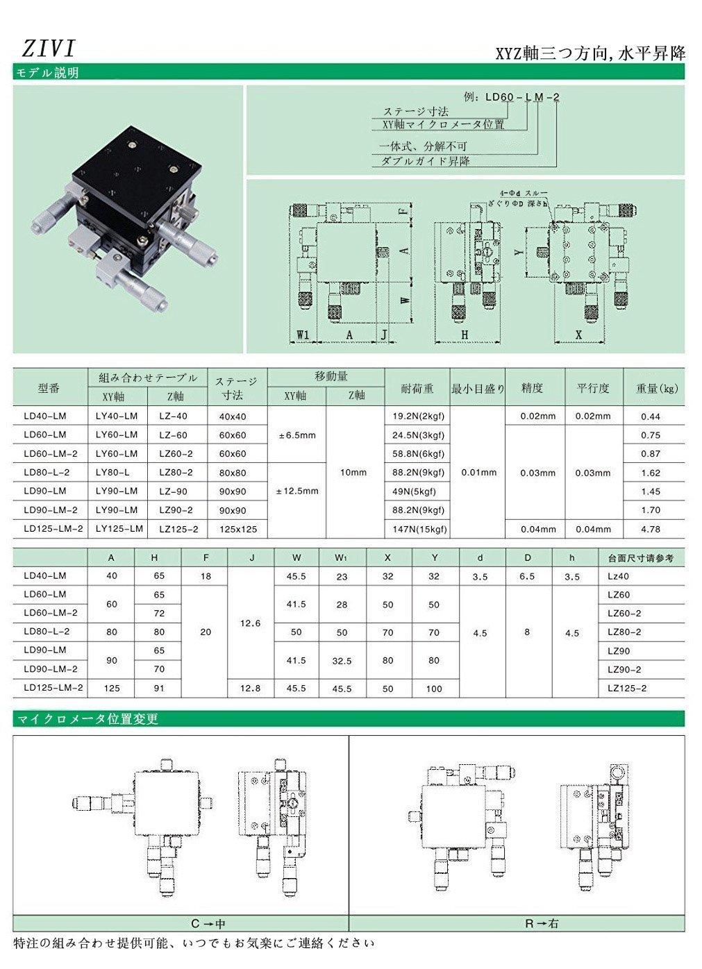 ZIVI XYZ軸 微動ステージ クロスローラテーブル 水平昇降 125*125mm LD125-LM-2 B07DMNP6Z1  LD125LM2