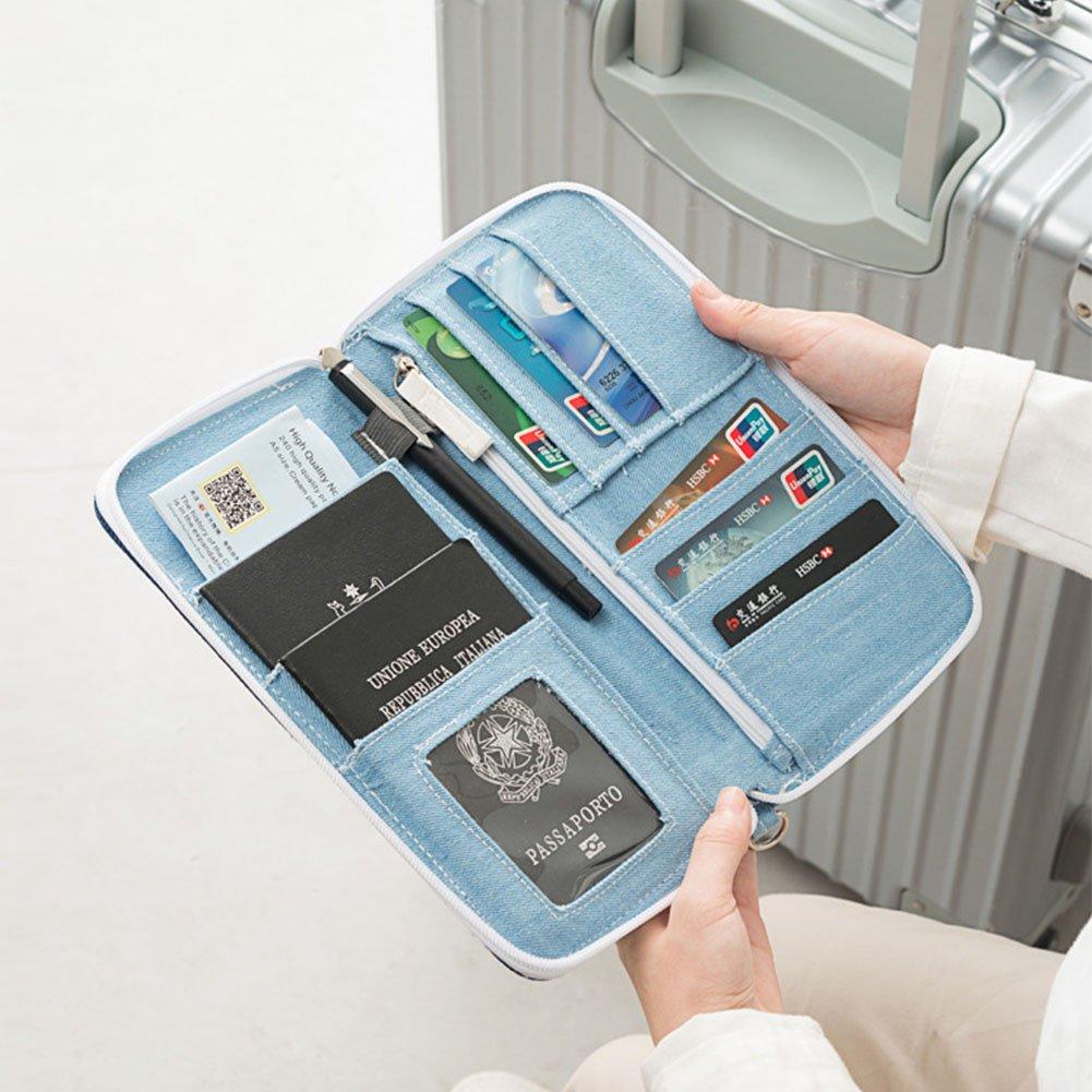 jemeira atwood Mulit-purpose Mens Long Travel Passport Wallet Simple Denim Document Organizer Clips Card Holder for Women