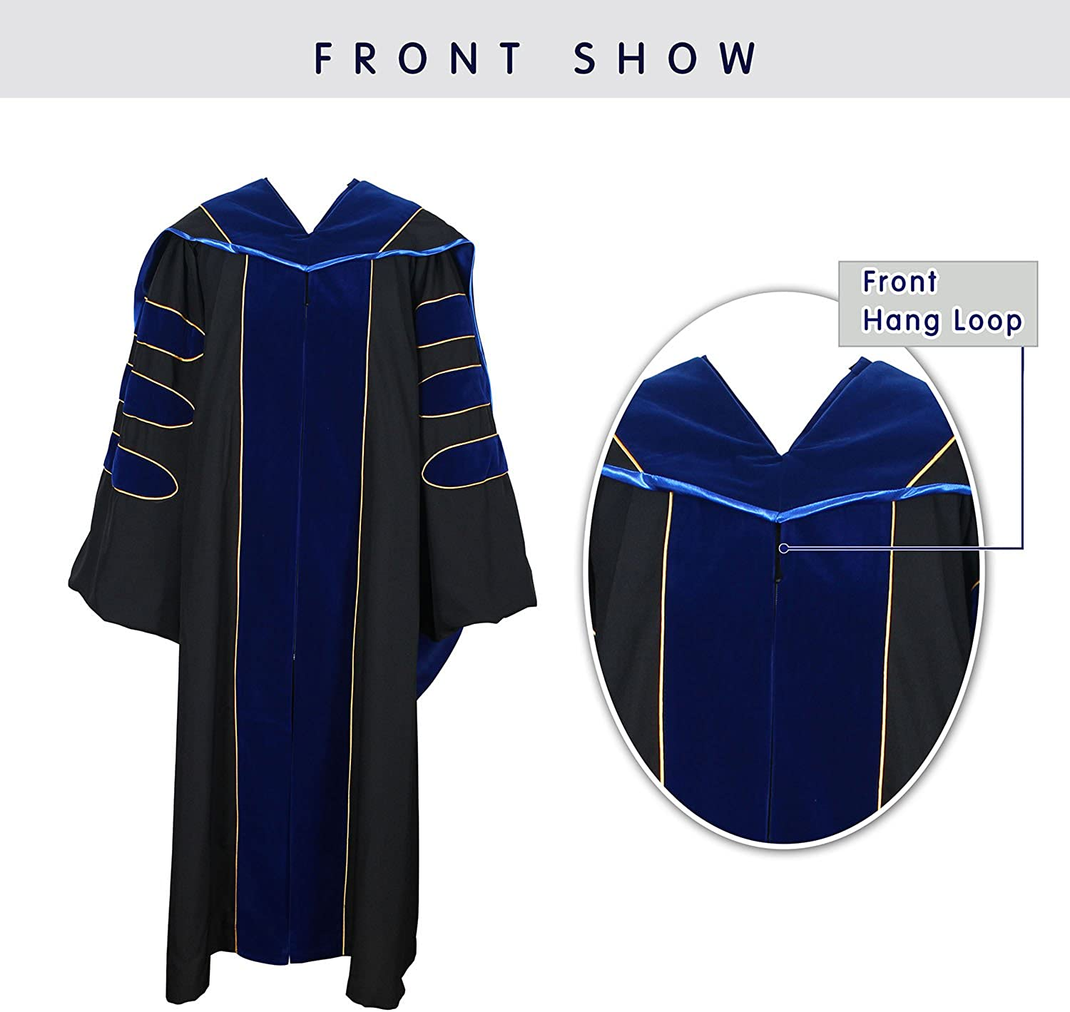 Graduation Deluxe Doctoral Hood Gold Piping