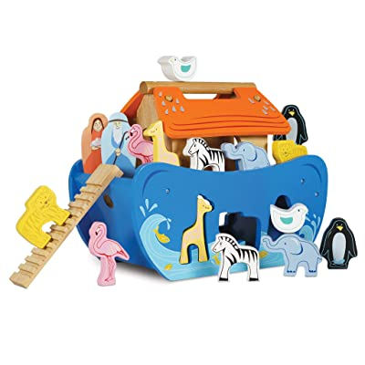 Le Toy Van Noah's Ark Shape Sorter Set Premium Wooden Toys for Kids Ages 2 Years & Up, Multicolor: Toys & Games